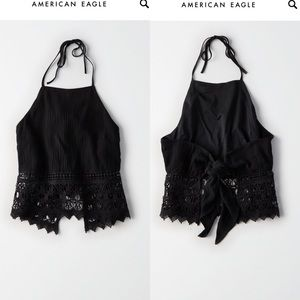 NWT cop halter top black and lace
